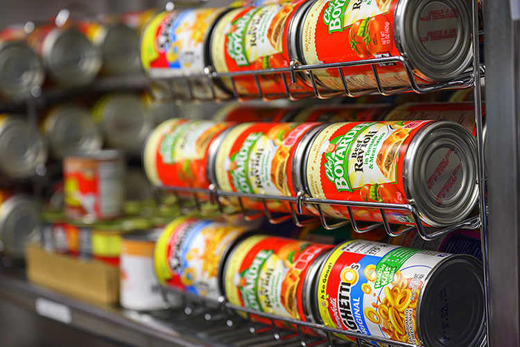 Cans of heat-and-eat pasta await students in the MTSU Student Food Pantry, which still provides bags of food to students from 8 a.m. to 5 p.m. Monday through Friday. (MTSU photo by Cat Curtis Murphy)