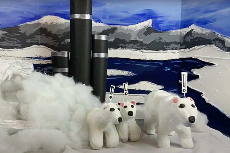 """A polar bear and her cubs are shocked at their polluted, disappearing habitat in this frame from """"Arctic Blues,"""" a one-minute stop-motion animated video created by students from the Tennessee School for the Blind in Nashville and MTSU art education students. The video, one of more than 22,000 entries from 78 countries this spring in the 48th International Children's Exhibition of Fine Arts Lidice competition, earned an honorable mention. (Photo from """"Arctic Blues"""" video)"""