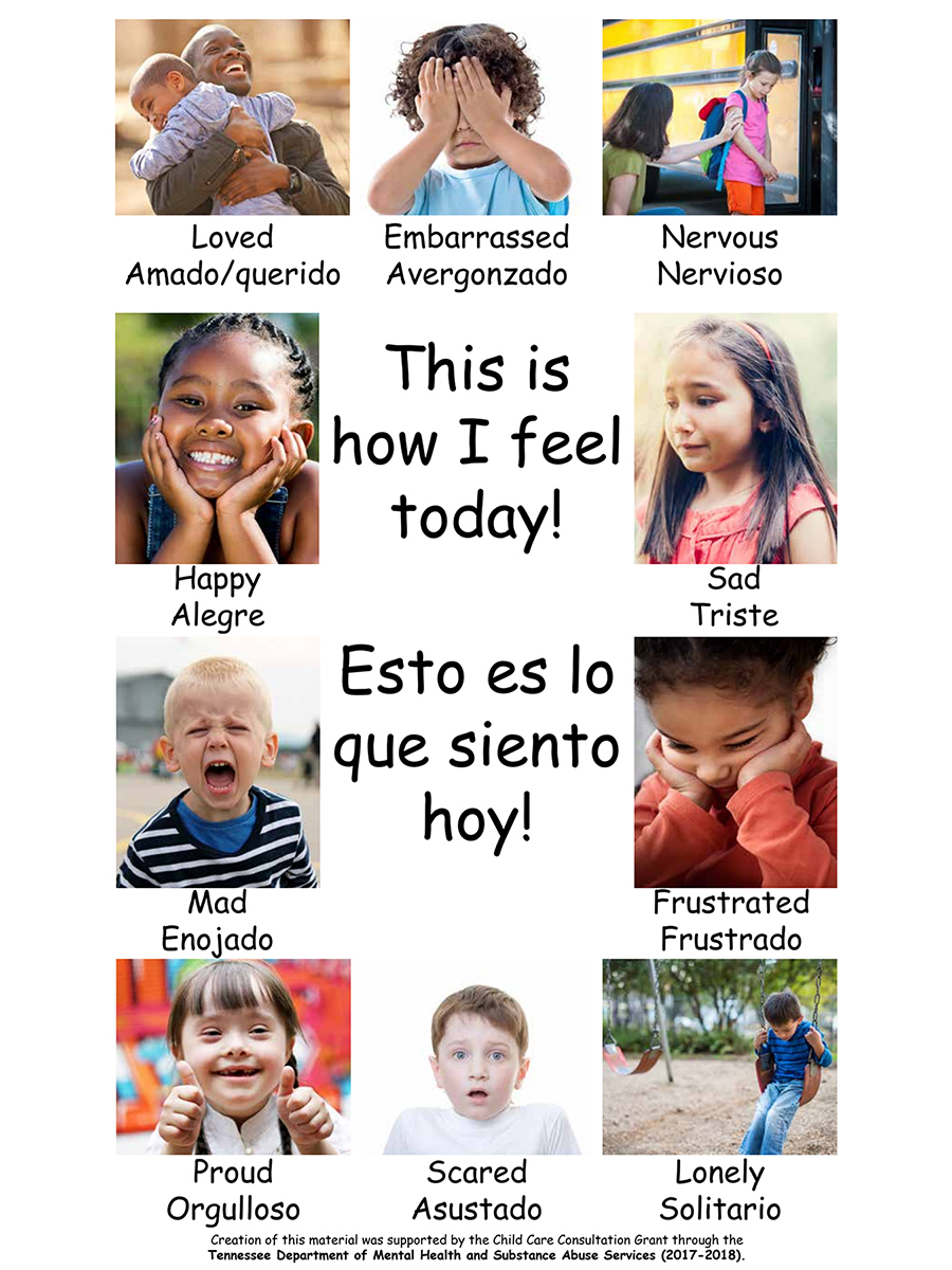"This ""feelings"" poster, funded by the Tennessee Department of Mental Health and Substance Abuse Services, shows young children how to recognize their feelings and emotions. The MTSU College of Education is offering, through its Early Learning Programs, a new online version of a course for preschool educators to help very young children develop social and emotional skills. Click on the image for a larger view."
