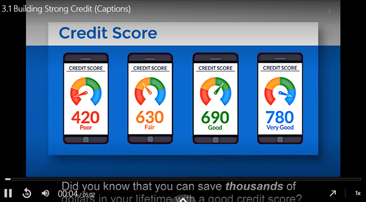 This screenshot shows the beginning of a five-minute instructional video for understanding credit scores that is part of Dr. Keith Gamble's online finance course.