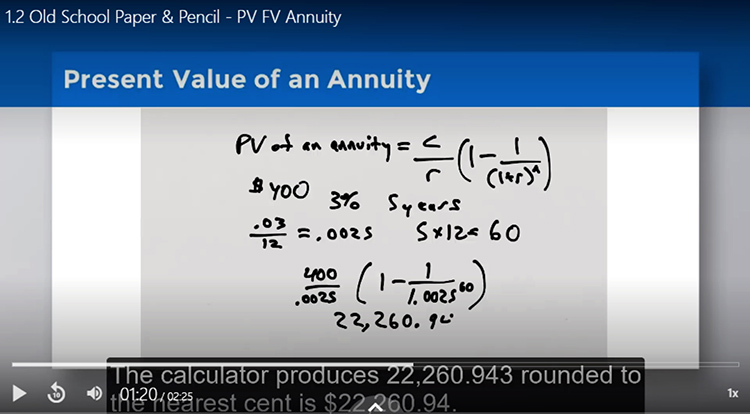 This screenshot shows a mathematical calculation example that is part of Dr. Keith Gamble's online finance course, which includes step by step instructional videos with narration.