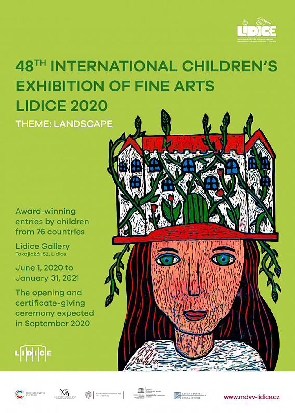 poster for the 48th International Children's Exhibition of Fine Arts Lidice 2020, an art ontest for children ages 4 to 16 around the world, headquartered in Lidice, Czech Republic