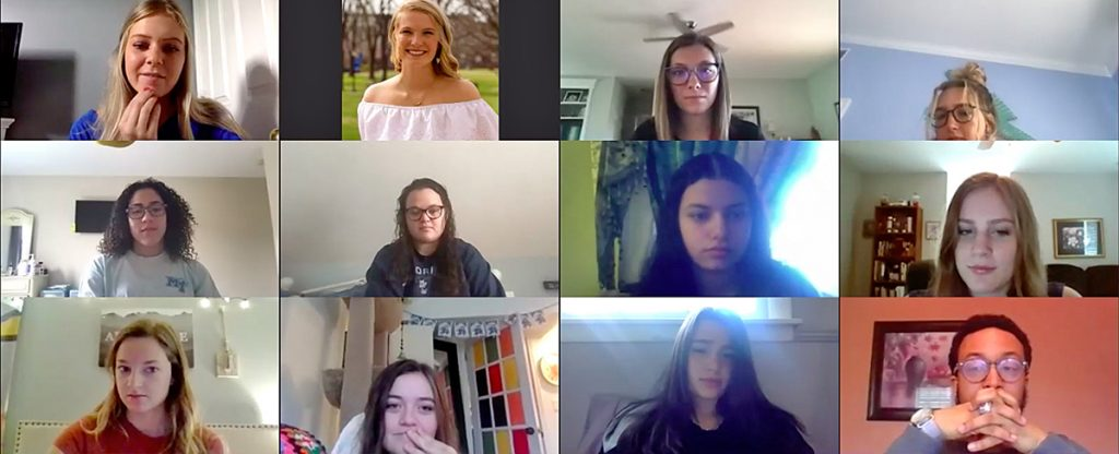 """Emma Summers, top left, leads the MTSU CUSTOMS """"New Zealand"""" group on the first day of virtual orientation Thursday, May 14. CUSTOMS will be online throughout the summer. (Screen capture from virtual orientation via Zoom)"""