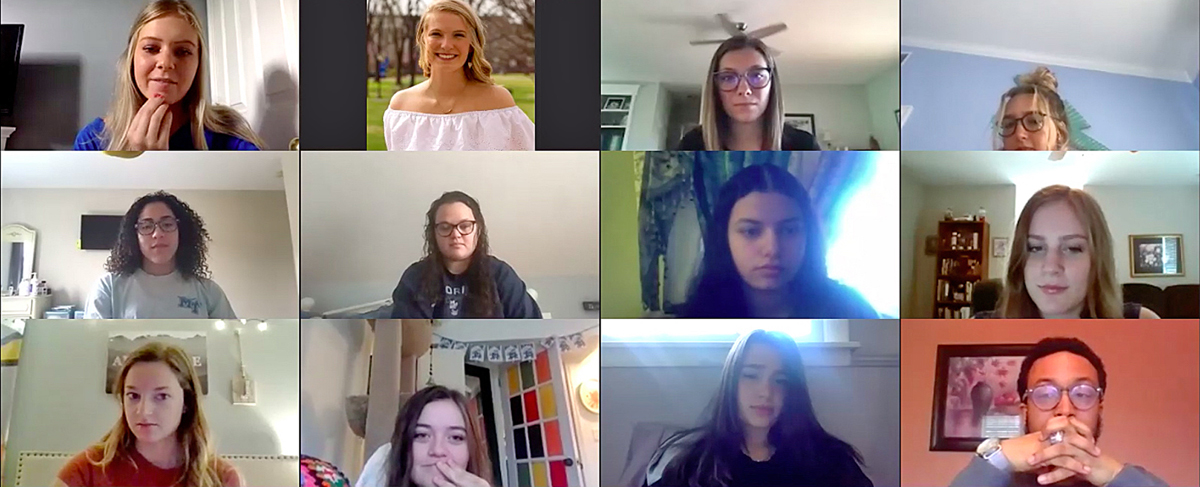 "Emma Summers, top left, leads the MTSU CUSTOMS ""New Zealand"" group on the first day of virtual orientation Thursday, May 14. CUSTOMS will be online throughout the summer. (Screen capture from virtual orientation via Zoom)"