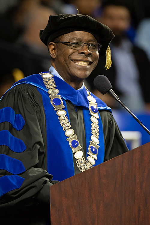 MTSU President Sidney A. McPhee smiles during the university's fall 2019 commencement ceremonies in Murphy Center in this December file photo. MTSU will conduct a virtual commencement ceremony Saturday, May 9, at http://www.mtsu.edu/virtual-commencement to celebrate the accomplishments of its 2,500-plus spring Class of 2020 graduates. (MTSU file photo by James Cessna)