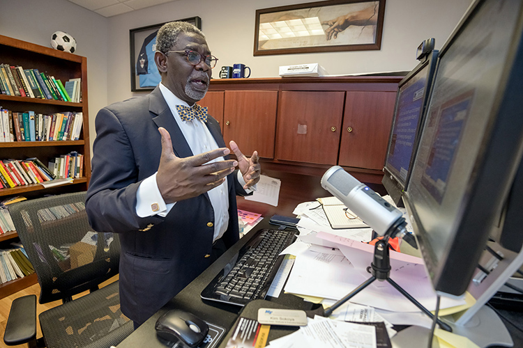 Dr. Kim Sokoya, associate dean for Graduate and Executive Education, records his lecture in mid-March for an online class for the College of Business. (MTSU photo by J. Intintoli)