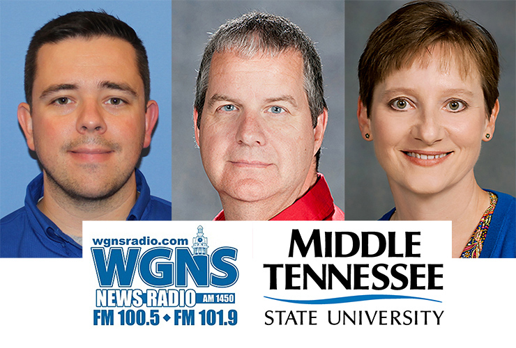 """From left, Casey Brown, an advisor with the Dual Enrollment Program through the MTSU University College; Dr. Cliff Welborn, professor of supply chain management in the MTSU Jones College of Business; and Dr. Laurie Witherow, associate vice provost for Admissions & Enrollment Services, appeared May 18 on the WGNS Radio """"Action Line"""" program with host and alumnus Bart Walker to discuss the latest happenings in their respective areas. (MTSU photo illustration)"""