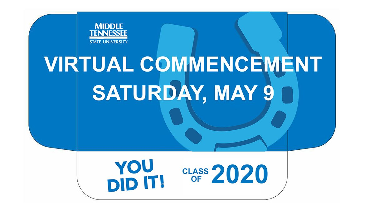 """cover of spring 2020 MTSU """"True Blue Graduation Box"""" with text reading """"Virtual Commencement, Saturday, May 9"""""""