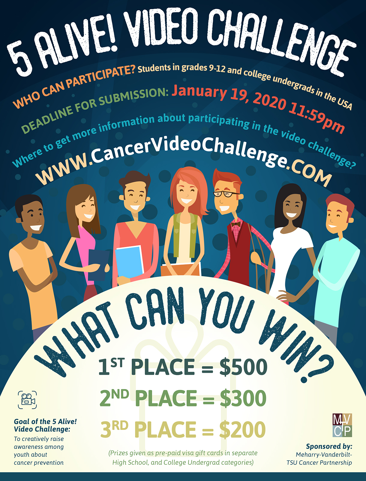 "poster from the 2020 ""5 Ailve Video Challenge"" contest for young people, sponsored by the Meharry-Vanderbilt-TSU Cancer Partnership"