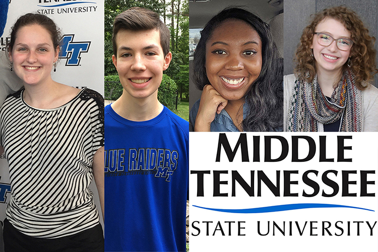 Audrey Lauerhass, left, Brian Johnson, Sesaleigh Whitaker and Jillian DeGrie are new students totally sold on coming to MTSU.(MTSU photo illustration by Jimmy Hart)