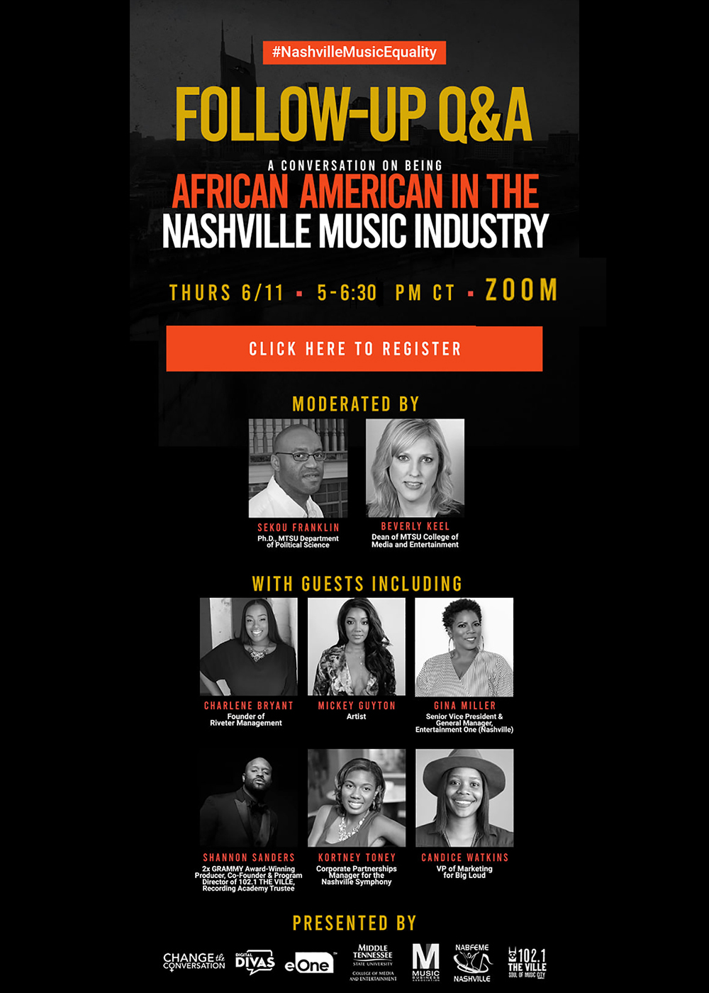 "poster with panelists for June 11, 2020, ""Follow-Up Q&A: A Conversation on Being an African American in the Nashville Music Industry"" Zoom event sponsored by MTSU's College of Media and Entertainment."