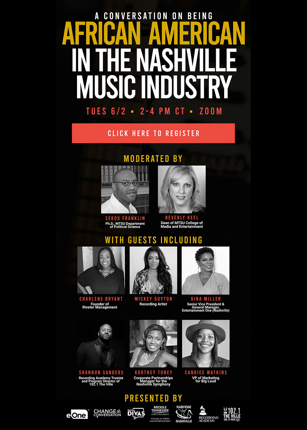 "poster with panelists for June 2, 2020, ""Being African American in the Nashville Music Industry"""