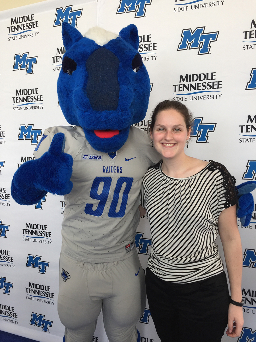 Incoming MTSU freshman Audrey Lauerhass of Baxley, Ohio, visits with Lightning during her visit to campus in February for the Honors College Presidents Day Open House. The Honors Buchanan Fellow plans to study forensic science and forensic anthropology, and be a part of the equestrian team. (Submitted photo)