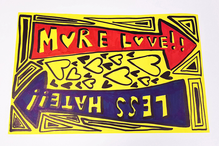 "This sign, which reads ""More Love, Less Hate,"" was donated by Abby Reish. It was used in the Murfreesboro Loves counterprotests to white nationalist demonstrations in 2017. (Submitted by Albert Gore Research Center)"
