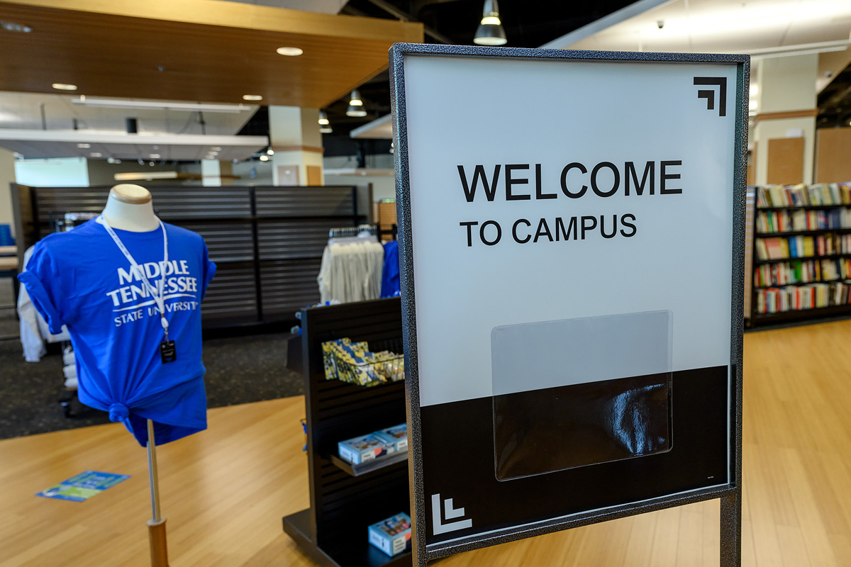 Store signage welcomes customers and guests on the first day of MTSU Phillips Bookstore reopening Tuesday, June 16, in the Student Union Building. Barnes & Noble College operates the bookstore, which is open from 10 a.m. to 2 p.m. for the present time. (MTSU photo by J. Intintoli)