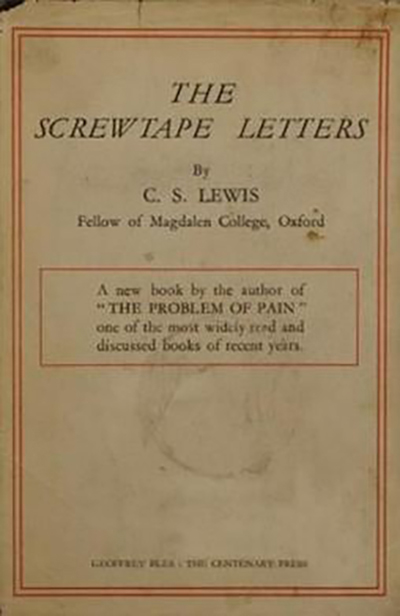 "This is a rare first edition dust wrapper of ""The Screwtape Letters,"" C.S. Lewis' 1942 novel in which an elder demon gives temptation lessons to a younger demon. (Photo submitted)"