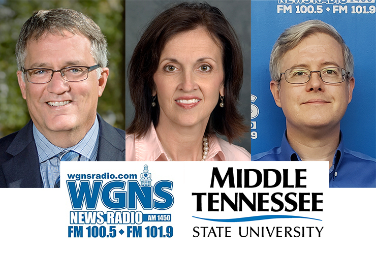 "From left, University Provost Mark Byrnes, chair of the COVID-19 Task Force; Dr. Lucy Langworthy, assistant to the dean in the MTSU College of Liberal Arts and interim chair of the Rutherford Arts Alliance; and Chris Swoner, director of the Tennessee Small Business Development Center in Murfreesboro, appeared June 15 on the WGNS Radio ""Action Line"" program with host Scott Walker to discuss the latest happenings in their respective areas. (MTSU photo illustration)"