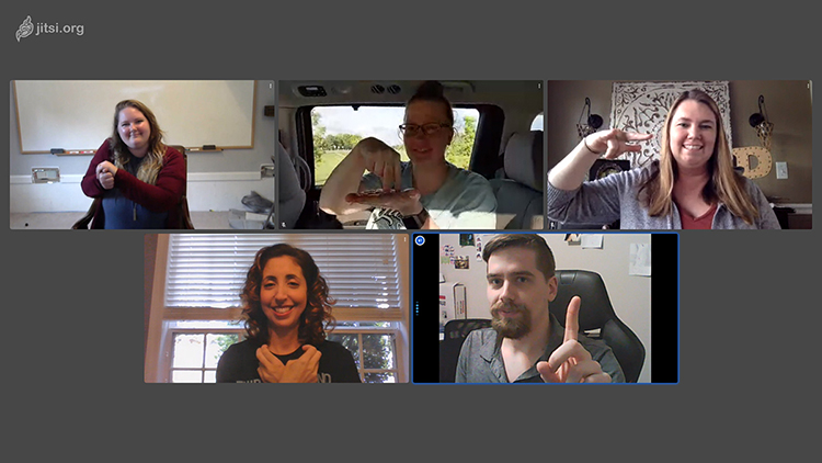 Instructor Haley Jensen, top left, and, clockwise from left, Stacie Lowry, Sarah Pruitt, Sarah Seago, and Joshua Jensen display their American Sign Language skills via video conferencing. (Photo submitted)