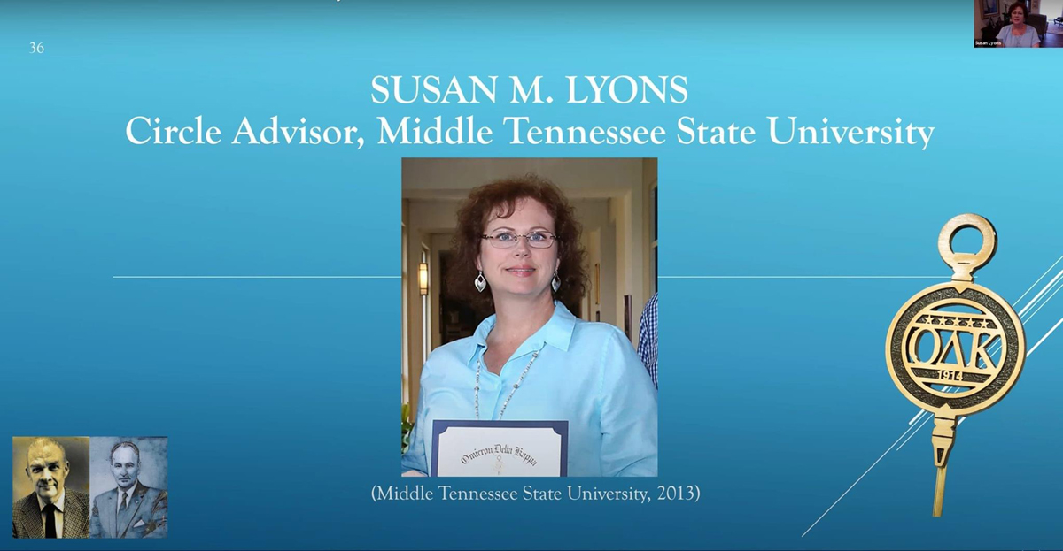 Omicron Delta Kappa 2020 Morlan-Bishop Outstanding Circle Officer Award recipient Susan Lyons of the MTSU Honors College participated in the recent ODK virtual awards ceremony. She leads the MTSU Circle, which has grown to nearly 150 members. (Screen capture)