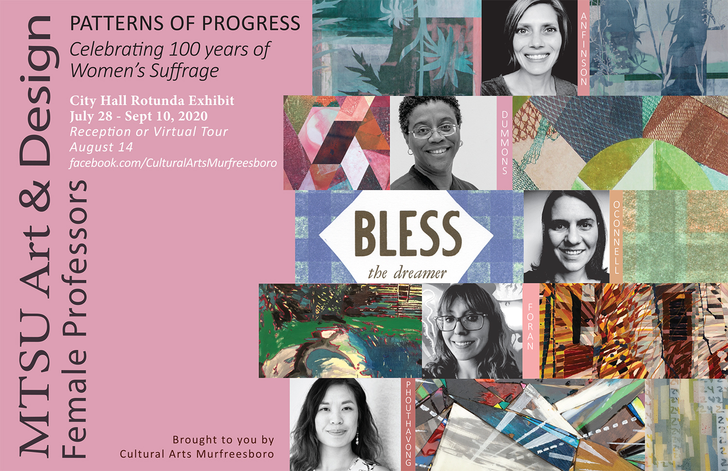 "The work of five MTSU Department of Art and Design faculty members is being showcased through Sept. 10 in a new art exhibit in Murfreesboro's City Hall celebrating the centennial of women's suffrage. ""Patterns of Progress: Celebrating 100 Years of Women's Suffrage"" is free and open to the public. Click on the image to see a larger version."
