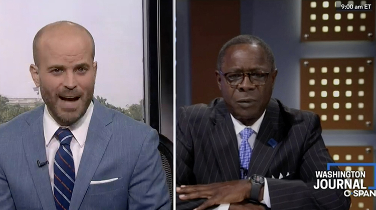 This screen capture shows Middle Tennessee State University President Sidney A. McPhee, right, answering questions during an interview Friday with host John McArdle for C-SPAN's Washington Journal.