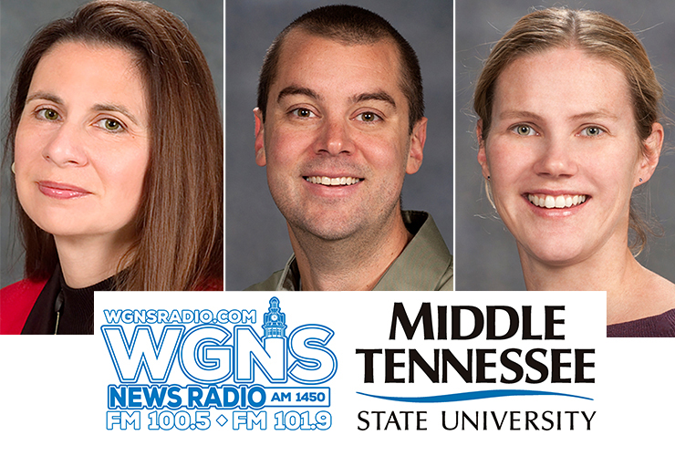 "From left, Dr. Jackie Gilbert, management professor in the Jones College of Business; Dr. Ryan Otter, biology professor and co-director of the MTSU Data Science Institute; and Dr. Katie Foss, professor of media studies in the School of Journalism and Strategic Media, were interviewed by phone for the Monday, July 20, WGNS Radio ""Action Line"" program with host Scott Walker. (MTSU photo illustration by Jimmy Hart)"