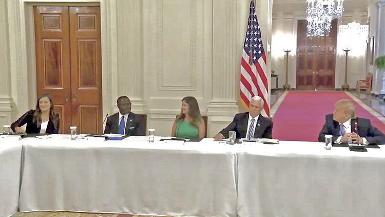 A screenshot from a video showing MTSU Student Trustee Delanie McDonald, left, as she prepares to speak at a White House panel Tuesday on plans to reopen the nation's schools and universities this fall. Joining McDonald, from left, was MTSU President Sidney A. McPhee, second lady Karen Pence, Vice President Mike Pence and President Donald Trump.