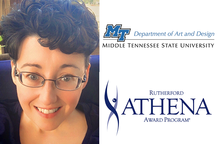 MTSU sophomore Karla Kirelawich of La Vergne, Tennessee, a graphic design major who is the 2020 recipient of the ATHENA Patrons Society Scholarship from Rutherford Cable, is shown with the MTSU Department of Art and Design logo and the Rutherford Cable ATHENA Award logo.