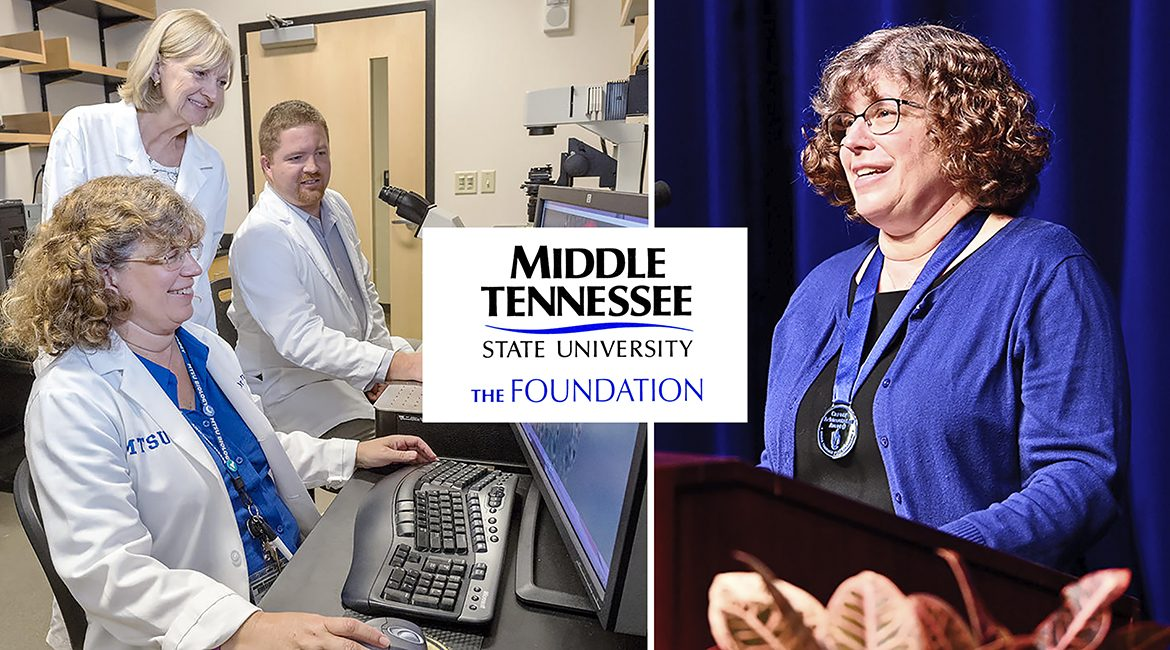 MTSU Department of Biology professor Mary Farone is shown at left in a university research lab with colleagues in 2016 and at right accepting the university's highest faculty honor, the MTSU Foundation Career Achievement Award, at the 2020 Fall Faculty Meeting in Tucker Theatre Thursday, Aug. 20. (MTSU photos by J. Intintol)