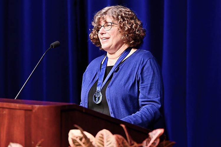 MTSU Department of Biology professor Mary Farone makes a point Thursday, Aug. 20, after receiving the university's highest faculty honor, the MTSU Foundation Career Achievement Award, at the 2020 Fall Faculty Meeting in Tucker Theatre. The annual event, held virtually this year because of the pandemic, saluted Farone's 24 years of teaching, research and service to students and honored 11 more faculty award recipients for their accomplishments in and outside the classroom. (MTSU photo by J. Intintol)