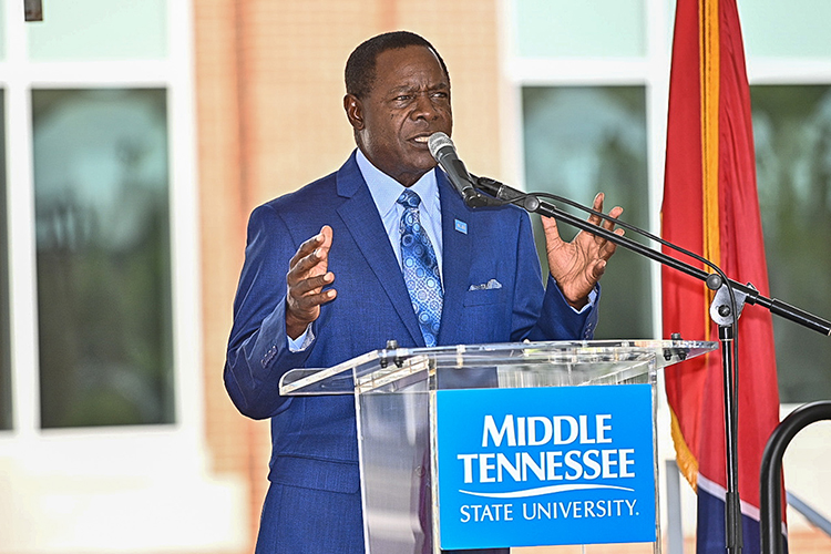 MTSU President Sidney A. McPhee addresses the audience at the Aug. 18 ribbon-cutting for the new Academic Classroom Building. The structure will house three disciplines from the College of Behavioral and Health Sciences. (MTSU photo by J. Intintoli)