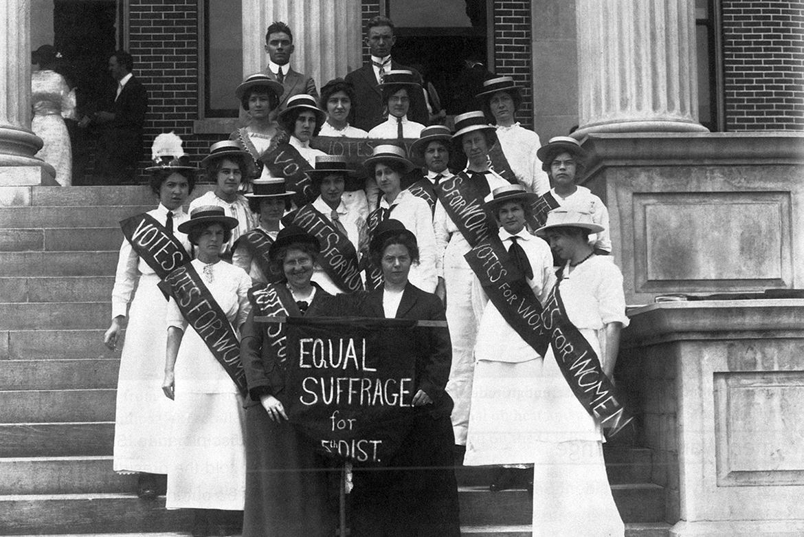 Advocates of women's suffrage pose on the steps of Kirksey Old Main on the MTSU campus in 1920. (Photo courtesy Albert Gore Research Center)
