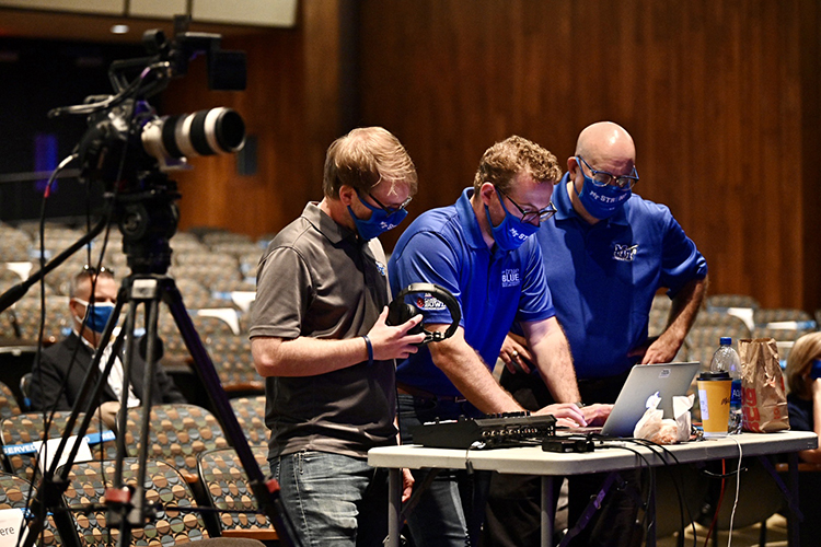 MTSU Marketing and Communications staff prepare to livestream the first Virtual Fall Faculty Meeting filmed Thursday, Aug. 20, inside Tucker Theatre and featuring university President Sidney A. McPhee's State of the University address. (MTSU photo by J. Intintoli)