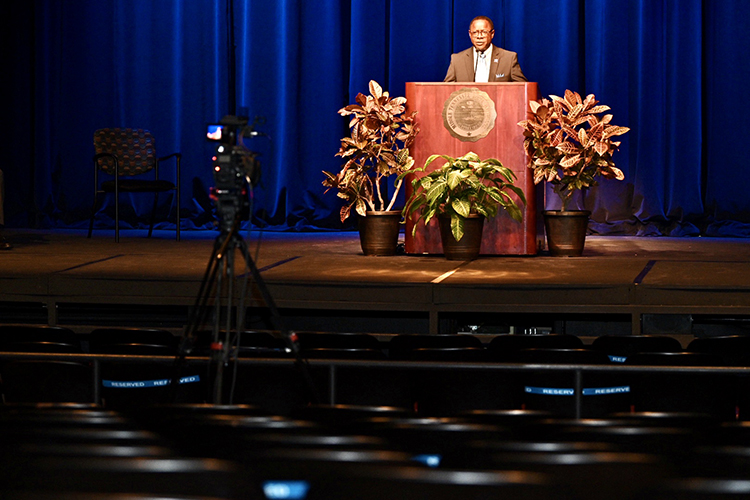 MTSU President Sidney A. McPhee gives his State of the University address on Thursday, Aug. 20, from a mostly empty Tucker Theatre as part of the first Virtual Fall Faculty Meeting, which was livestreamed on True Blue TV and other university social media channels. The event, which officially kicks off the new academic year, was held virtually as a precaution in light of the ongoing coronavirus pandemic. (MTSU photo by J. Intintoli)