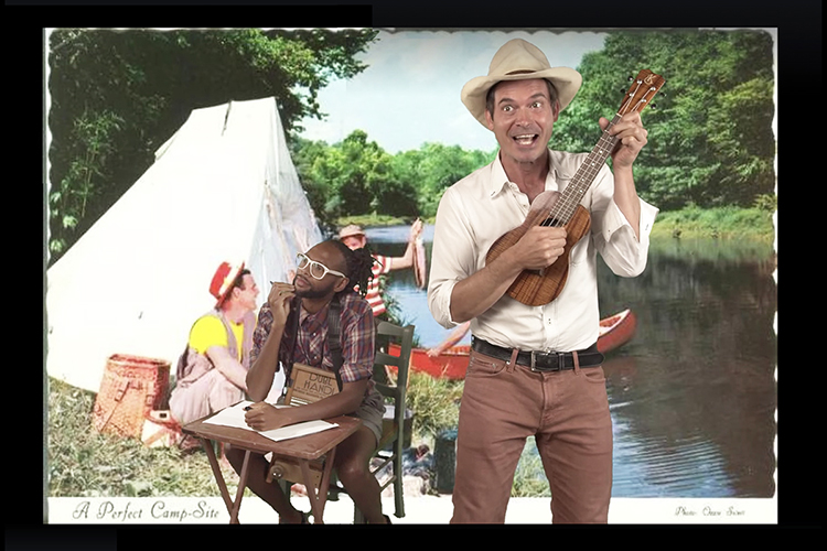 "This highlights video from the ""Hartland Hootenanny"" webcast, created by Old Crow Medicine Show's Ketch Secor, features Secor, at right, performing the novelty song ""Hello Muddah, Hello Faddah (A Letter from Camp)"" as bandmate Jerry Pentecost pretends to be the young camper writing home to his parents. MTSU's WMOT-FM Roots Radio 89.5 is adding the weekly variety show to its Saturday night lineup beginning Aug. 8 as a radio broadcast. (Image courtesy of Old Crow Medicine Show)"