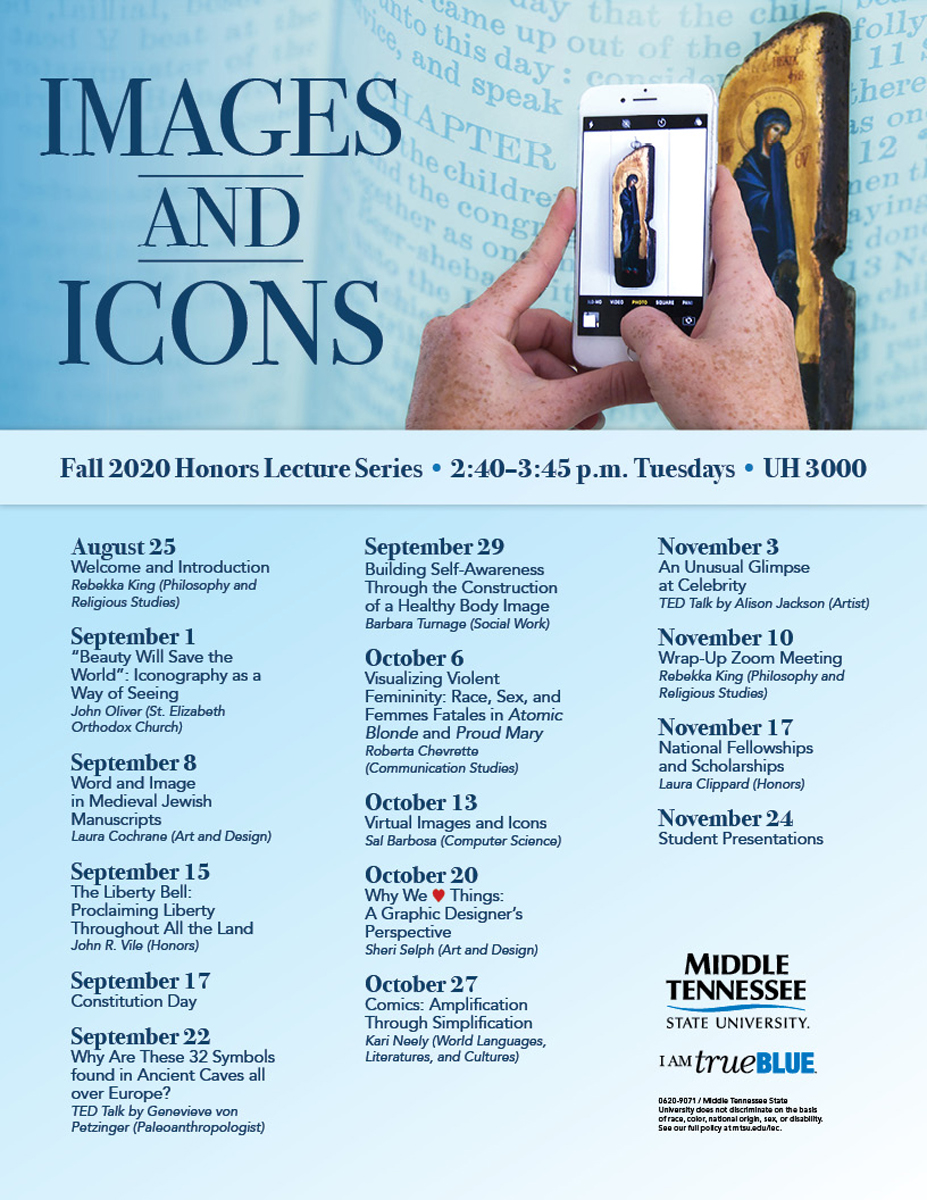 Images and Icons fall 2020 Honors Lecture Series flyer