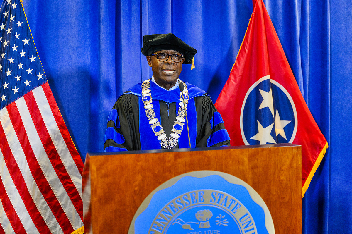 """MTSU President Sidney A. McPhee brings """"special greetings to the Class of 2024 and an outstanding class of transfers"""" during the virtual Convocation ceremony Saturday, Aug. 22. He told the remote audience this is """"the beginning of significant new relationships — individuals who will literally change your life — and you will develop connections with faculty and staff at this great university."""" (MTSU photo by J. Intintoli)"""
