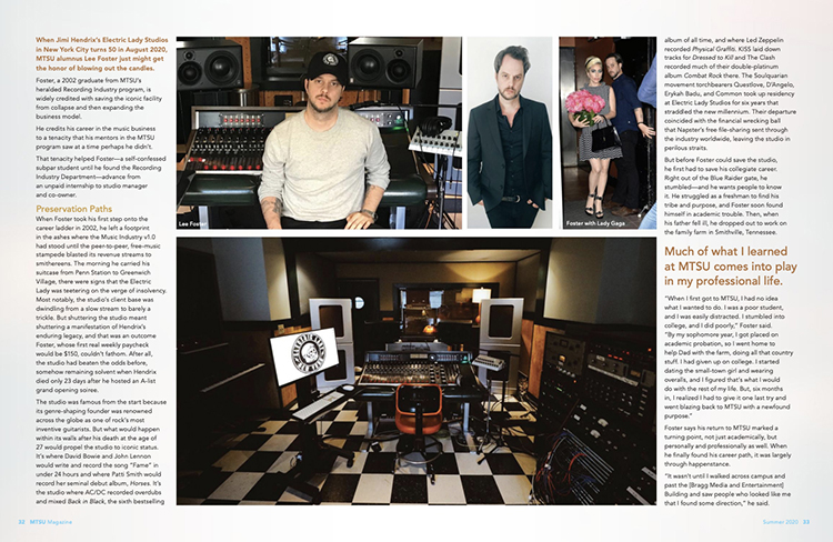 This screen capture from the electronic pdf edition of the latest MTSU Magazine shows one of the main feature stories, a profile of 2002 Recording Industry alumnus Lee Foster.
