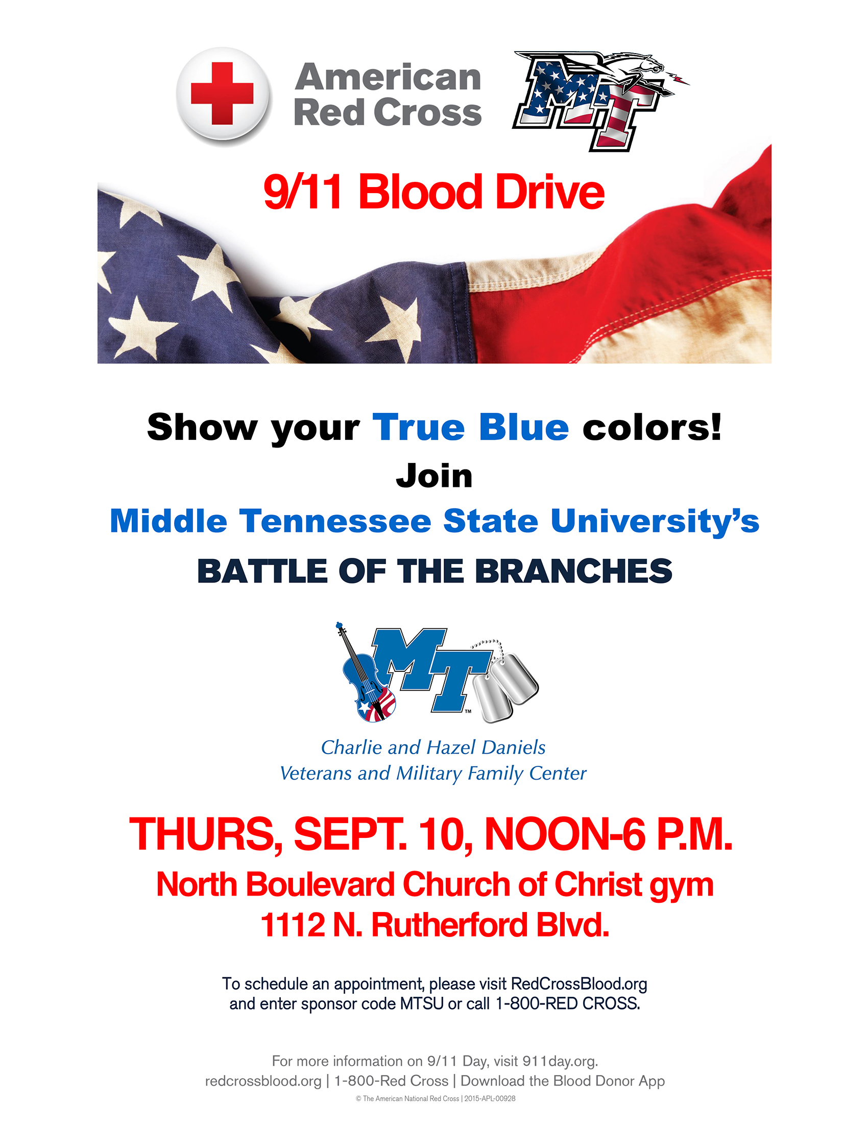 "MTSU ""Battle of the Branches"" 2020 blood drive poster"