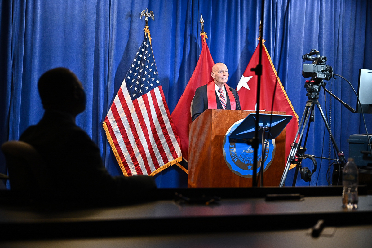 Keith M. Huber, right, leads the virtual Graduating Veterans Stole Ceremony Wednesday, Aug. 5, as MTSU President Sidney A. McPhee waits to be introduced and speak to the participants. Huber praised the graduates and MTSU leadership, and thanked corporate sponsors. (MTSU photo by J. Intintoli)
