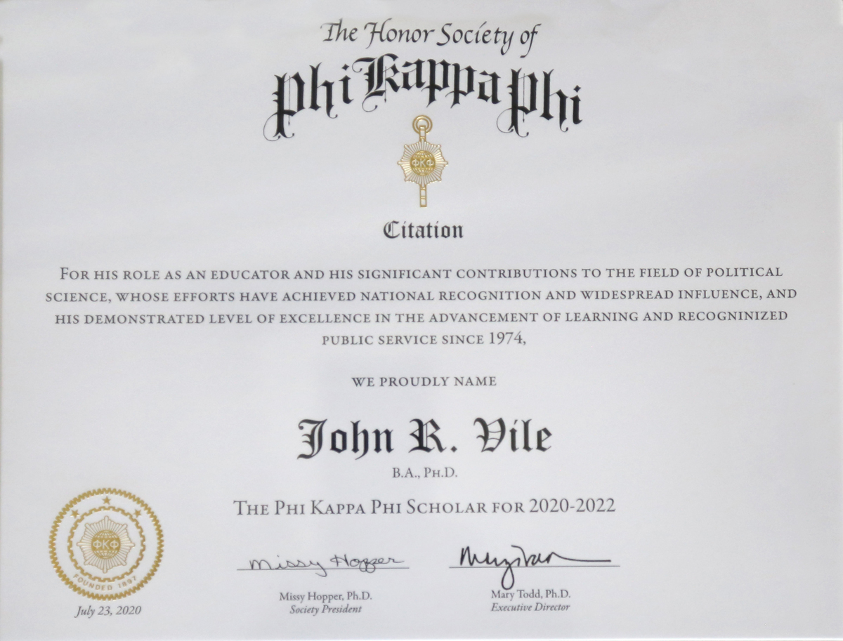 The recognition citation received by MTSU Honors College Dean John Vile, who is the 2020-22 recipient of The Honor Society of Phi Kappa Phi Scholar Award. (Photo submitted by the MTSU Honors College)