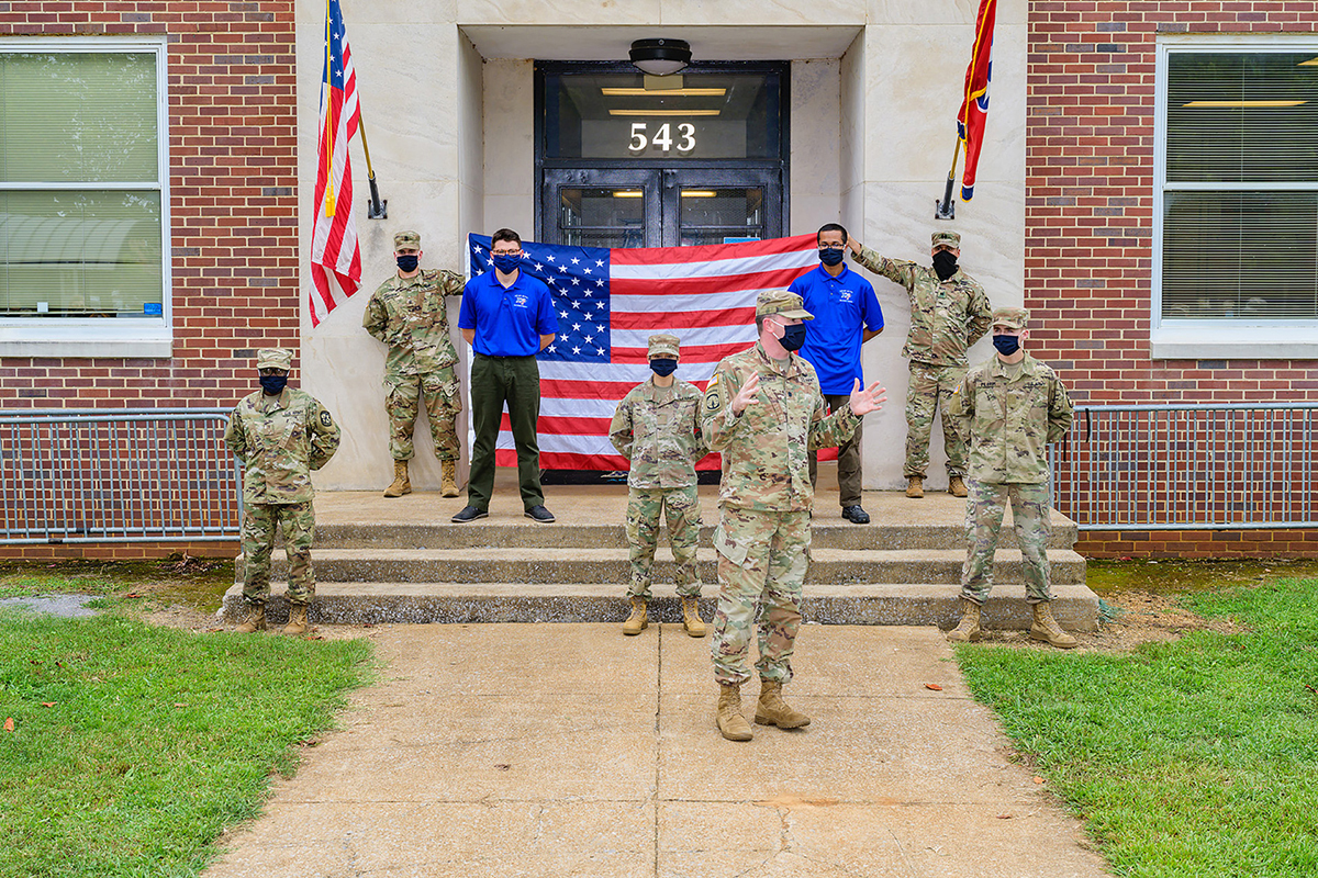 U.S. Army Lt. Col. Carrick McCarthy, who directs the MTSU Military Science program, speaks during the ROTC cadet swearing-in ceremony Thursday, Aug. 27, in front of Forrest Hall. Five new cadets took the Army oath. (MTSU photo by Andy Heidt)