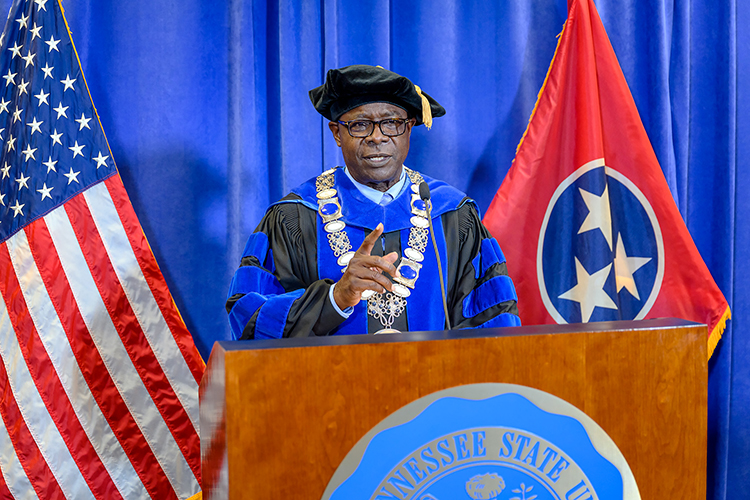 MTSU President Sidney A. McPhee encourages the university's 804 summer 2020 graduates as he videotapes the virtual commencement ceremony in the Learning Resources Center. MTSU's second virtual graduation event, organized to keep participants safe amid the ongoing pandemic, celebrated the summer Class of 2020 on Saturday, Aug. 8. (MTSU photo by J. Intintoli)