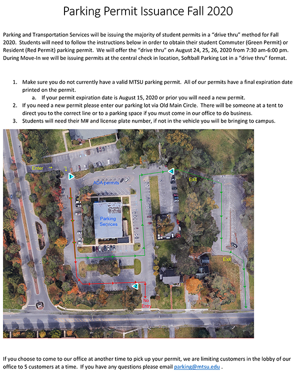 image of fall 2020 MTSU parking permit informational PDF