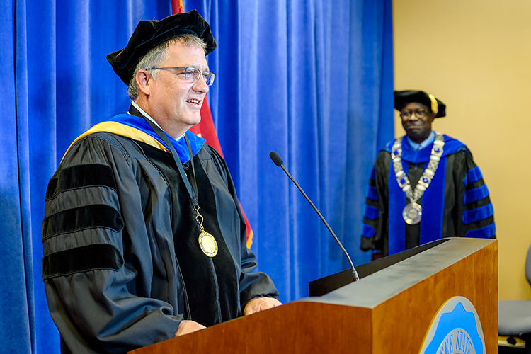 MTSU Provost Mark Byrnes, left, makes a point while addressing the university's 804 summer Class of 2020 and President Sidney A. McPhee listens and waits to make his remarks as they videotape MTSU's summer 2020 virtual commencement ceremony in the Learning Resources Center. MTSU's second virtual graduation event, organized to keep participants safe amid the ongoing pandemic, celebrated the graduates on Saturday, Aug. 8. (MTSU photo by J. Intintoli)