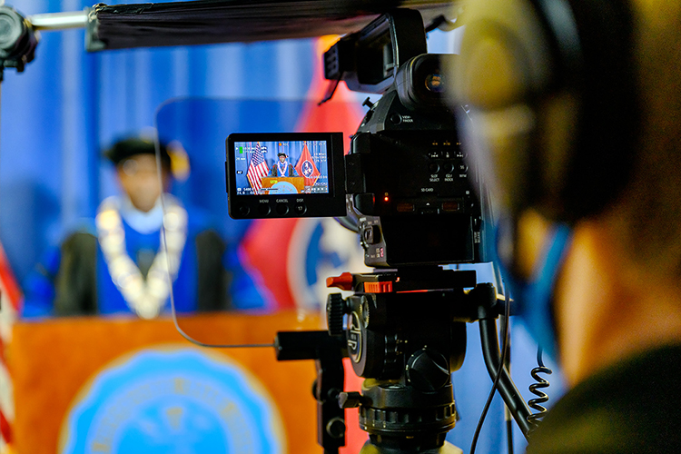 MTSU President Sidney A. McPhee is captured in university videographer Joseph Poe's viewfinder while taping the university's summer 2020 virtual commencement ceremony in the Learning Resources Center. MTSU's second virtual graduation event, organized to keep participants safe amid the ongoing pandemic, celebrated 804 summer Class of 2020 graduates on Saturday, Aug. 8. (MTSU photo by J. Intintoli)