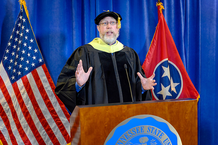 MTSU Faculty Senate President Justin Gardner, an associate professor in the School of Agriculture, praises the university's 804 summer 2020 graduates for their resilience as e videotapes the virtual commencement ceremony in the Learning Resources Center. Gardner was the guest speaker for MTSU's second virtual graduation event, which was organized to keep participants safe amid the ongoing pandemic and celebrate the summer Class of 2020 on Saturday, Aug. 8. (MTSU photo by J. Intintoli)