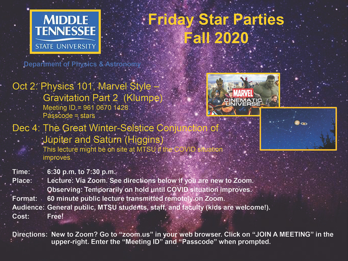 MTSU fall Star Party graphic