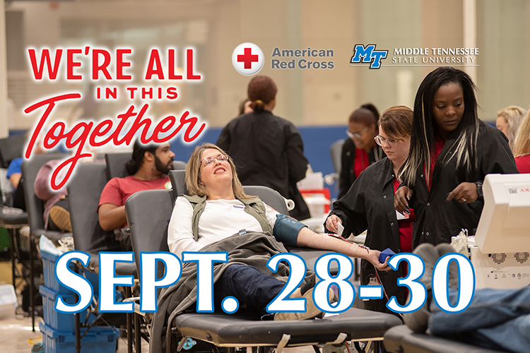 "MTSU donors relax while American Red Cross technicians take their pints of blood during the 2019 annual blood drive competition in this file photo. MTSU is conducting its own ""Bleed Blue to Beat the COVID-19 Blues"" blood drive Sept. 28-30 in the North Boulevard Church of Christ gymnasium in the wake of pandemic-related scheduling changes. (MTSU file photo by James Cessna)"