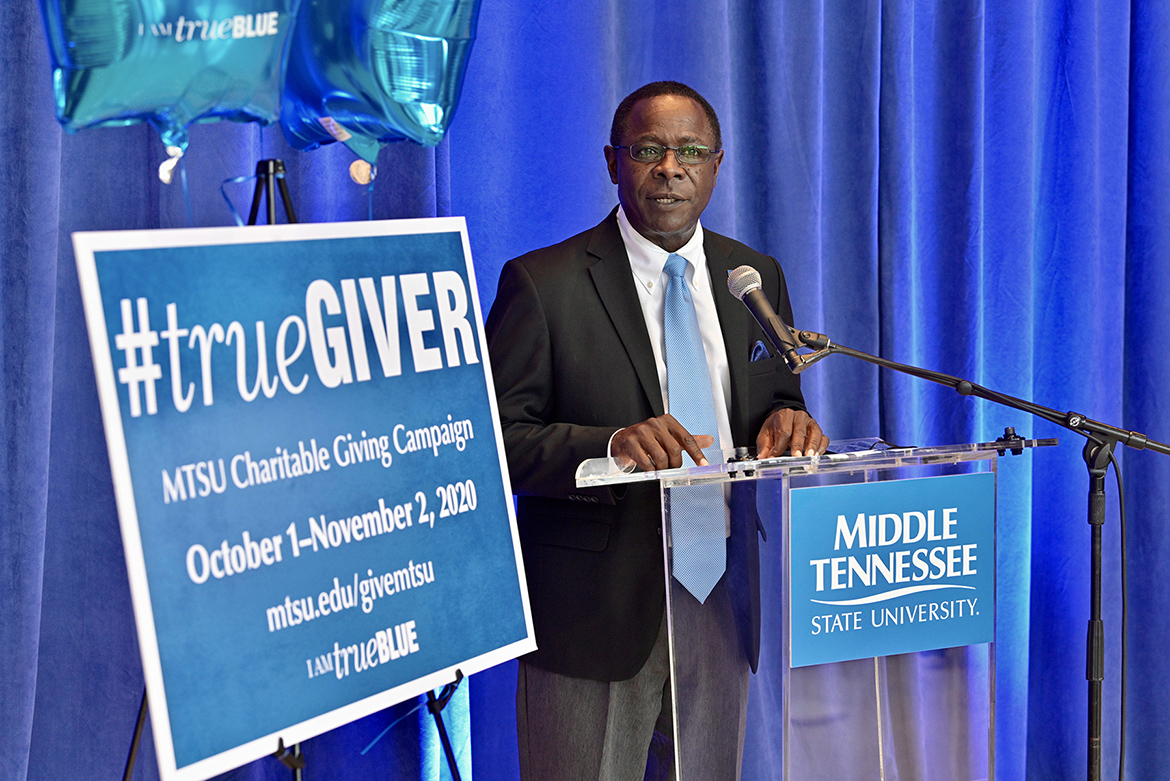 MTSU President Sidney A. McPhee announces a $135,000 for the 2020-21 MTSU Employee Charitable Giving Campaign during a kickoff ceremony held recently in the atrium of the Cope Administration Building. (MTSU photo by Andy Heidt)